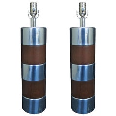 Pair of Mid-20th Century Cylinder Lamps