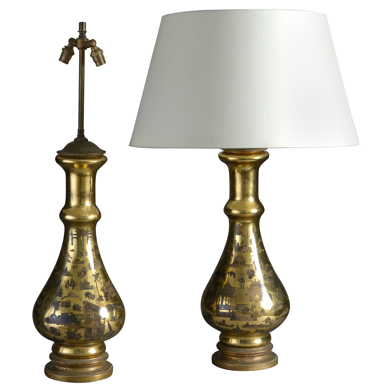 Pair of Mid-20th Century Decalcomania Vase Lamps