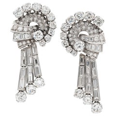 Pair of Mid 20th Century Diamond Drop Earrings