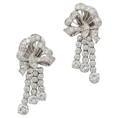 Pair of Mid-20th Century Diamond-Set Bow and Tassel Earrings