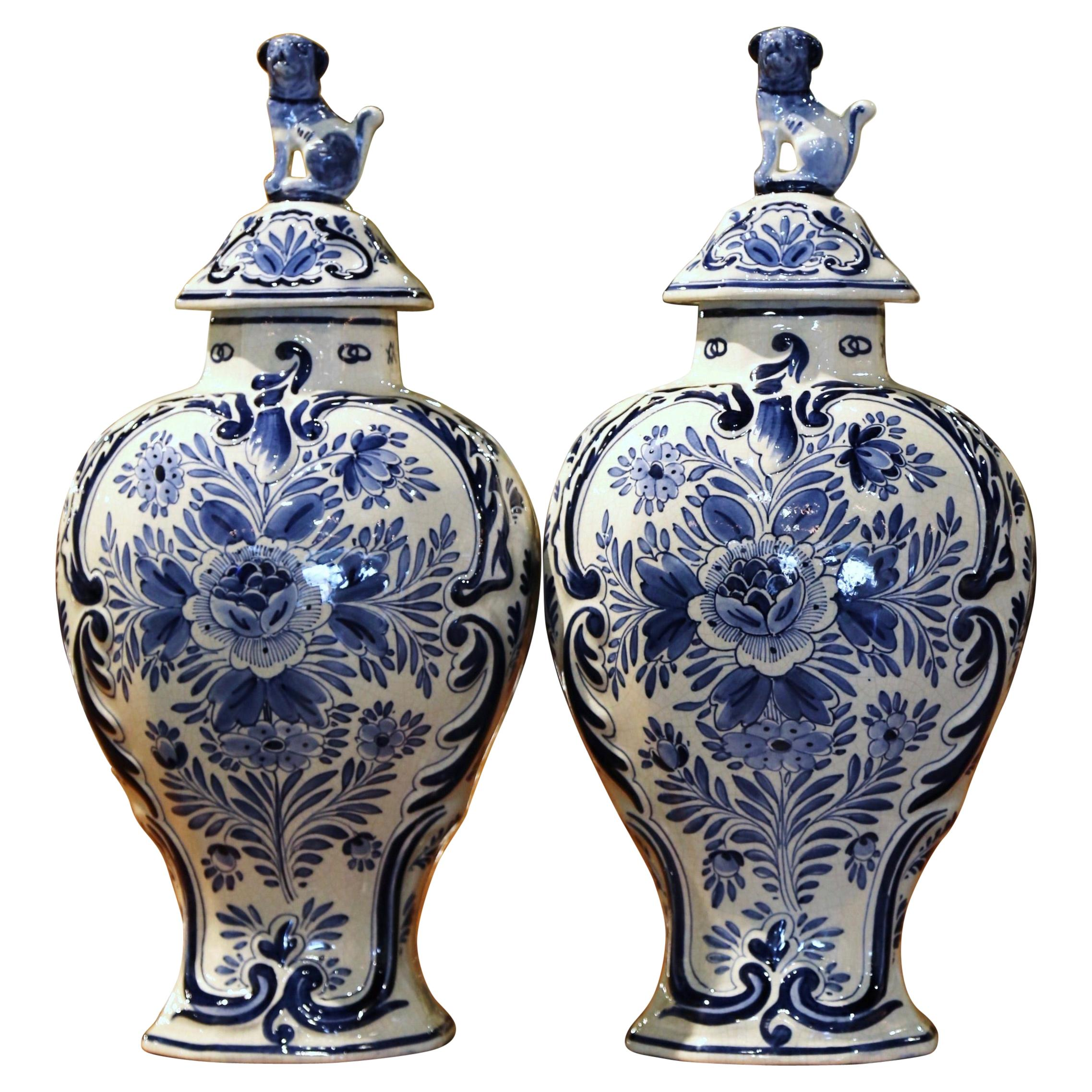 Pair of Mid-20th Century Dutch Blue and White Hand-Painted Delft Ginger Jars