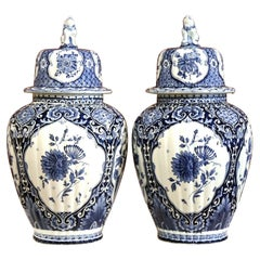 Pair of Mid-20th Century Dutch Blue and White Royal Maastricht Delft Ginger Jars