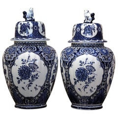 Pair of Mid-20th Century Dutch Painted Blue and White Faience Delft Ginger Jars