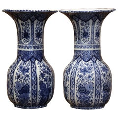 Pair of Mid-20th Century Dutch Royal Blue and White Painted Faience Delft Vases