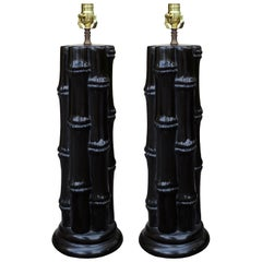 Pair of Mid-20th Century Ebonized Faux Bamboo Column Lamps