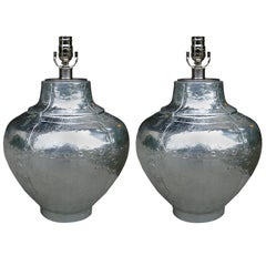 Pair of Mid-20th Century Faux Riveted Metal Ginger Jar Form Lamps