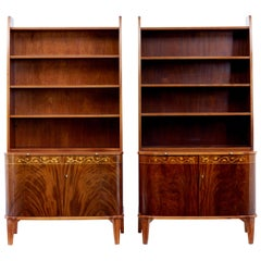 Pair of Mid-20th Century Flame Mahogany Scandinavian Bookcases by Bodafors