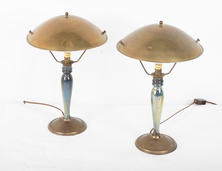 Art Nouveau Pair of Mid-20th Century French Blue Glazed Earthenware Lamps with Metal Shades For Sale