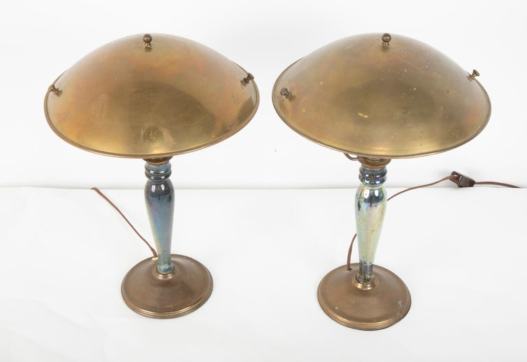 Pair of Mid-20th Century French Blue Glazed Earthenware Lamps with Metal Shades In Good Condition For Sale In Stamford, CT