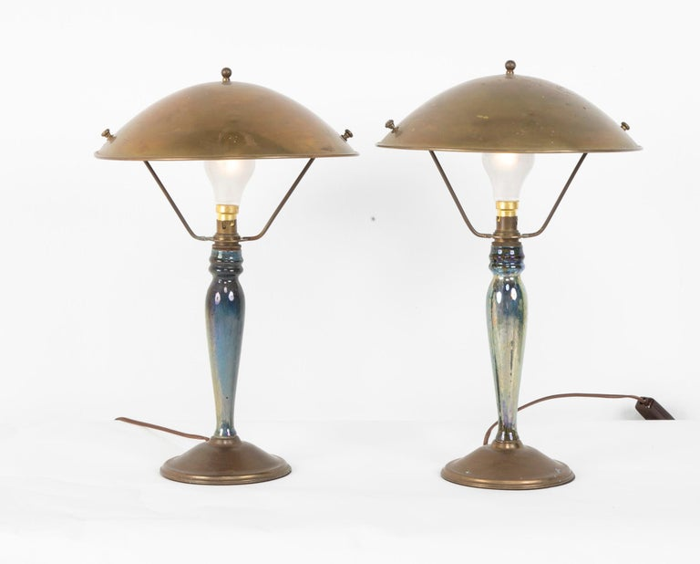 Ceramic Pair of Mid-20th Century French Blue Glazed Earthenware Lamps with Metal Shades For Sale