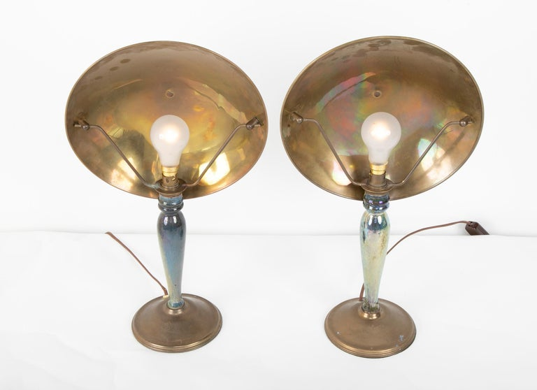 Pair of Mid-20th Century French Blue Glazed Earthenware Lamps with Metal Shades For Sale 1