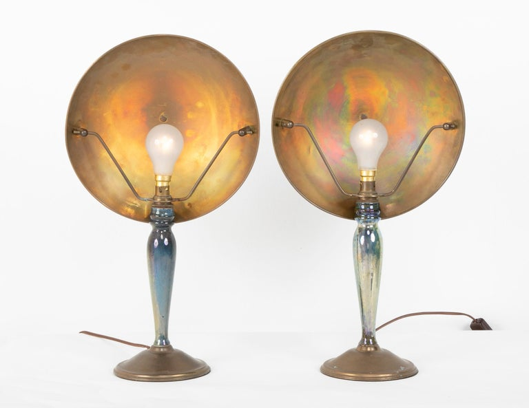 Pair of Mid-20th Century French Blue Glazed Earthenware Lamps with Metal Shades For Sale 2