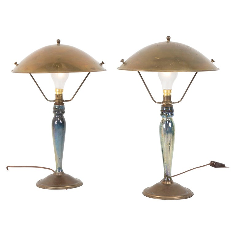 Pair of Mid-20th Century French Blue Glazed Earthenware Lamps with Metal Shades For Sale