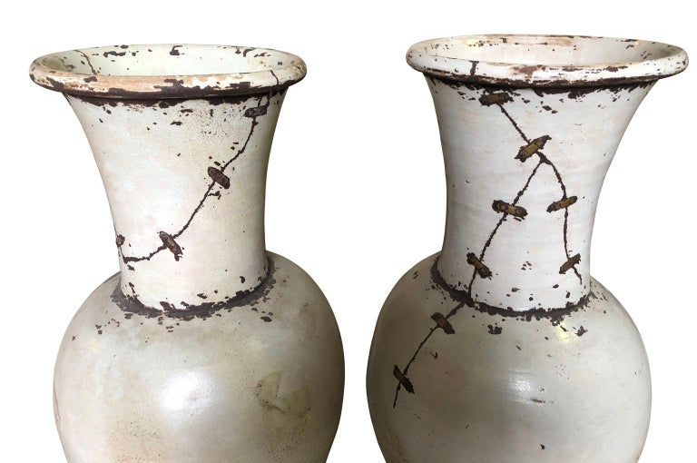Pair of Mid-20th Century French Ceramic Vases In Good Condition For Sale In Atlanta, GA