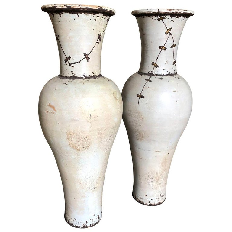 Pair of Mid-20th Century French Ceramic Vases For Sale