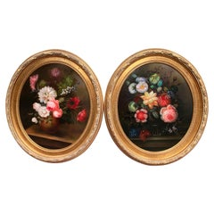 Pair of Mid-20th Century French Floral Still Life Oil Paintings in Gilt Frames