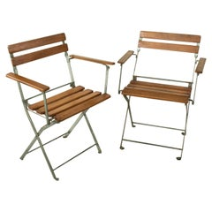 Pair of Mid-20th Century French Folding Metal Bistro Armchairs with Wooden Slats