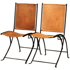 Pair of Mid-20th Century French Iron and Leather Folding Chairs