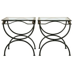 Pair of Mid-20th Century French Iron Side Tables or End Tables with Glass Tops