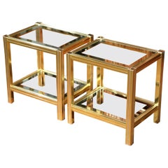 Pair of Mid-20th Century French Neoclassical Gilt Metallic and Glass End Tables