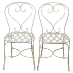 Pair of Mid 20th Century French Painted Iron Garden Chairs