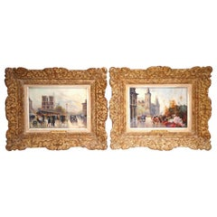 Pair of Mid-20th Century French Paris Scenes Paintings Signed A. Michel