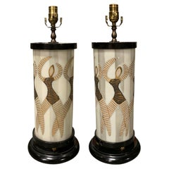Pair of Mid-20th Century Glass Cylinder Lamps with Dancers