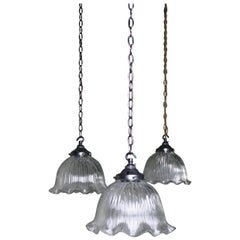 Pair of Mid-20th Century Holophane Style Prismatic Fluted Pendants Lights