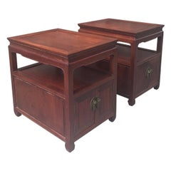 Pair of Mid-20th Century Hongmu End Tables