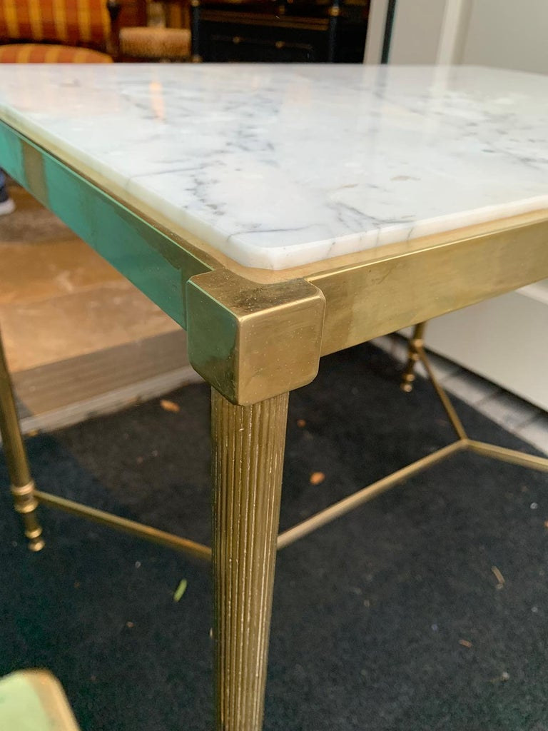 Pair of Mid-20th Century Italian Brass Side Tables, Marble Tops, circa 1950s For Sale 7