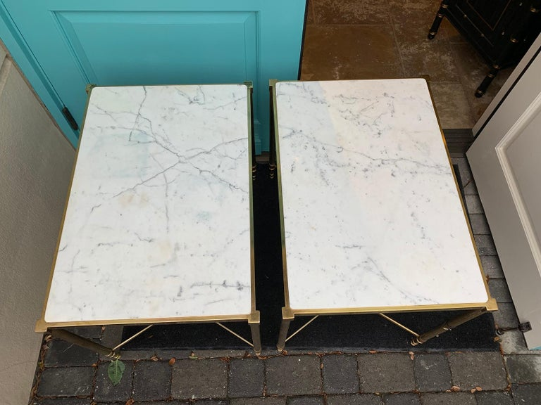 Pair of Mid-20th Century Italian Brass Side Tables, Marble Tops, circa 1950s In Good Condition For Sale In Atlanta, GA
