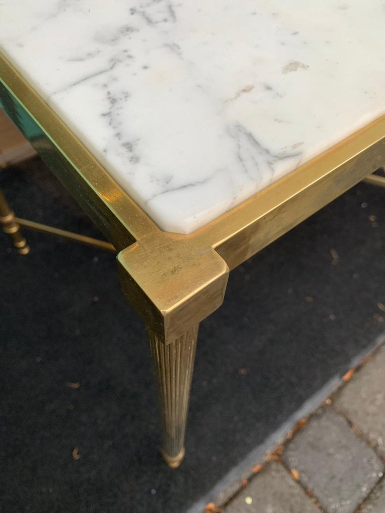 Pair of Mid-20th Century Italian Brass Side Tables, Marble Tops, circa 1950s For Sale 1