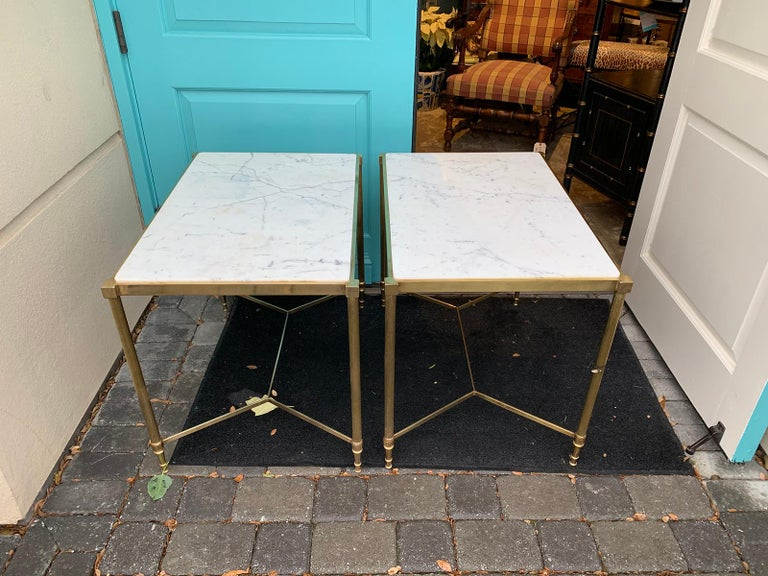 Pair of Mid-20th Century Italian Brass Side Tables, Marble Tops, circa 1950s For Sale 3
