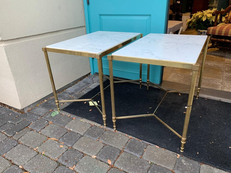 Pair of Mid-20th Century Italian Brass Side Tables, Marble Tops, circa 1950s For Sale 4