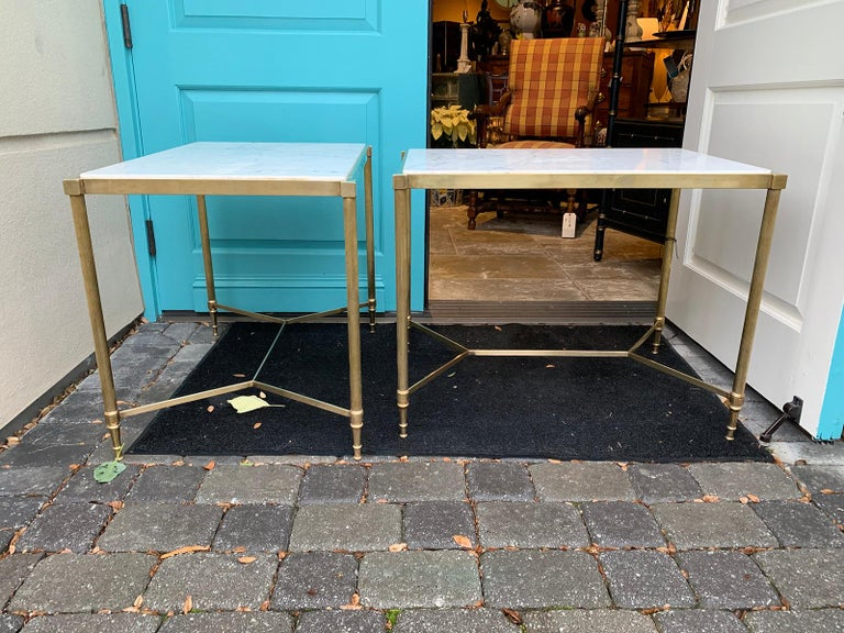 Pair of Mid-20th Century Italian Brass Side Tables, Marble Tops, circa 1950s For Sale 5