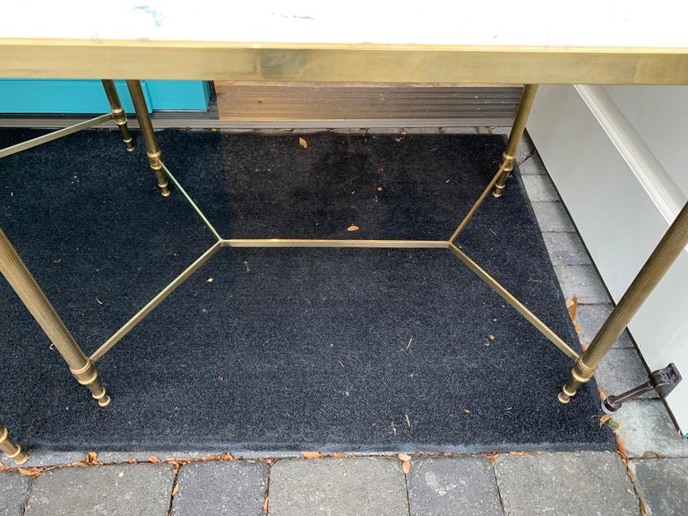 Pair of Mid-20th Century Italian Brass Side Tables, Marble Tops, circa 1950s For Sale 6