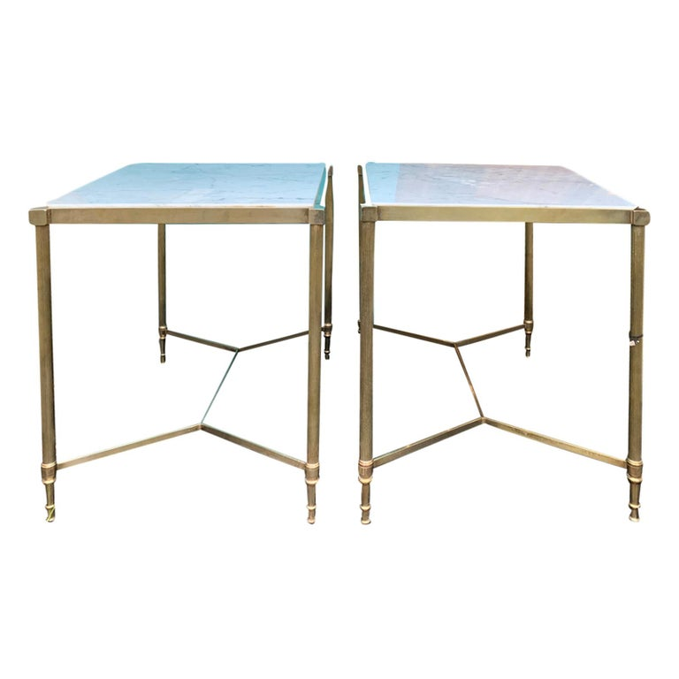 Pair of Mid-20th Century Italian Brass Side Tables, Marble Tops, circa 1950s For Sale