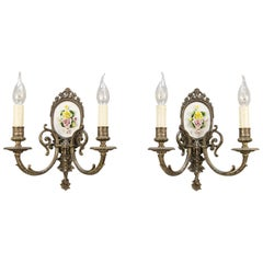 Pair of Mid-20th Century Italian Capodimonte Porcelain and Brass Sconces