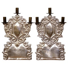 Pair of Mid-20th Century Italian Carved Brass Silvered Three-Light Candelabras