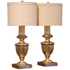 Pair of Mid-20th Century Italian Carved Giltwood Table Lamps