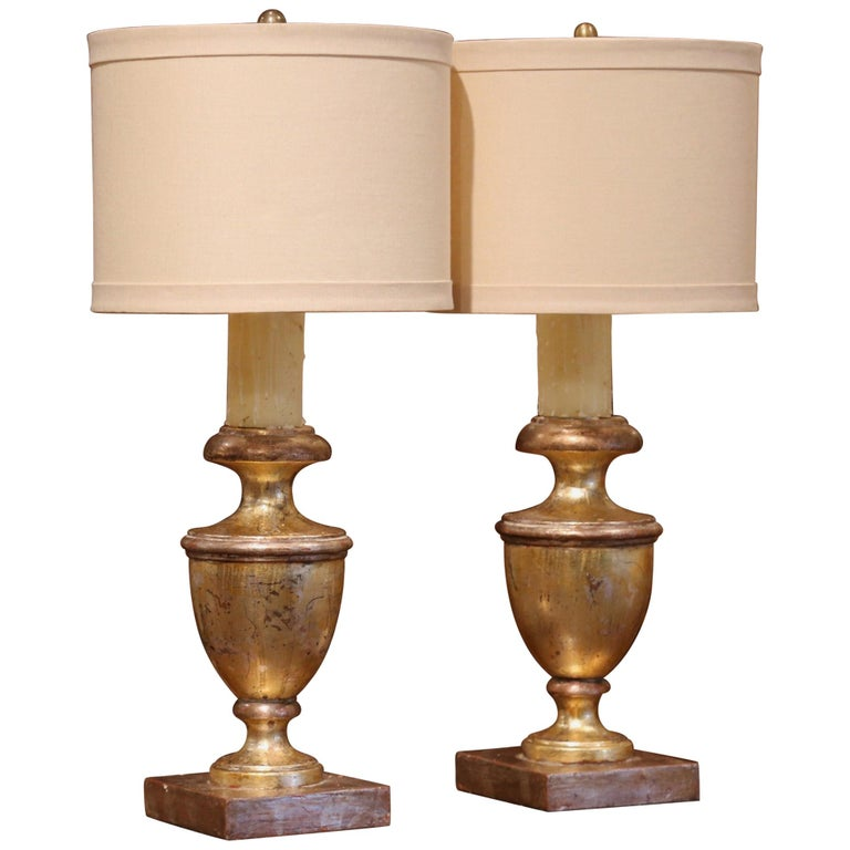 Pair of Mid-20th Century Italian Carved Giltwood Table Lamps For Sale