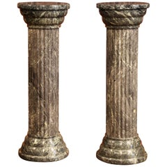Pair of Mid-20th Century Italian Carved Green Marble Pedestal Tables