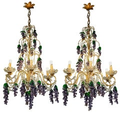 Pair of Mid-20th Century Italian Chandeliers with Purple Murano Glass Grapes