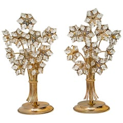 Pair of Mid-20th Century Italian Crystal and Brass Table Lamps, 1960s