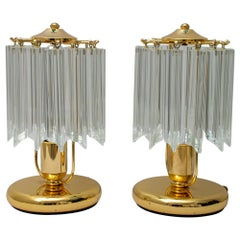 "Pair of Mid-20th Century Italian Crystal Murano ""Quadriedri"" Table Lamps, 1980s"
