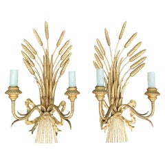 Pair of Mid-20th Century Italian Giltwood Sheaf of Wheat 2 Arm Sconces
