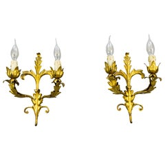 Pair of Mid-20th Century Italian Gold Colored Tole Sconces