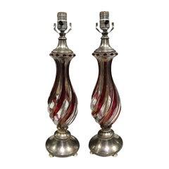 Pair of Mid-20th Century Italian Swirled Glass Lamps