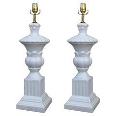 Pair of Mid-20th Century Italian White Ceramic Urn Lamps