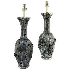 Pair of Mid-20th Century Japanese Bronze Table Lamps with Floral Lattice Design